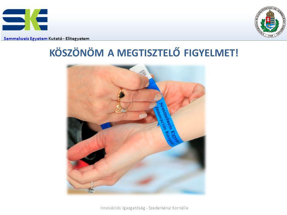 Semmelweis EgyetemSemmelweis Egyetem Kutató - Elitegyetem Innovációs Igazgatóság - Szederkényi Kornélia KÖSZÖNÖM A MEGTISZTELŐ FIGYELMET!