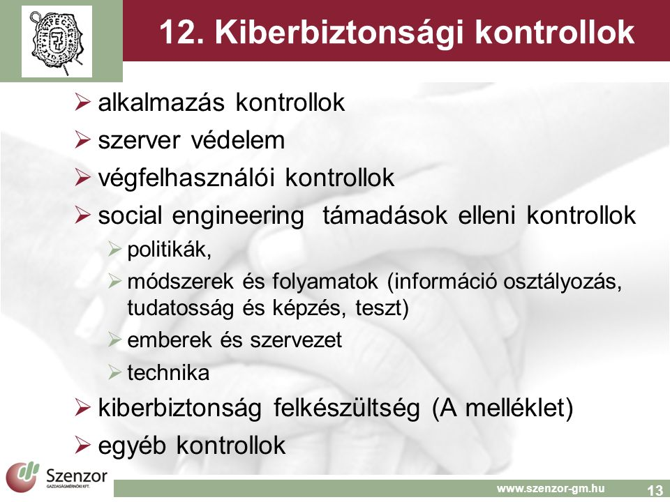 13 www.szenzor-gm.hu 12.