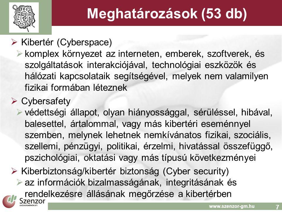 7 www.szenzor-gm.hu Meghatározások (53 db)  Kibertér (Cyberspace)  komplex környezet az interneten, emberek, szoftverek, és szolgáltatások interakciójával, technológiai eszközök és hálózati kapcsolataik segítségével, melyek nem valamilyen fizikai formában léteznek  Cybersafety  védettségi állapot, olyan hiányossággal, sérüléssel, hibával, balesettel, ártalommal, vagy más kibertéri eseménnyel szemben, melynek lehetnek nemkívánatos fizikai, szociális, szellemi, pénzügyi, politikai, érzelmi, hivatással összefüggő, pszichológiai, oktatási vagy más típusú következményei  Kiberbiztonság/kibertér biztonság (Cyber security)  az információk bizalmasságának, integritásának és rendelkezésre állásának megőrzése a kibertérben