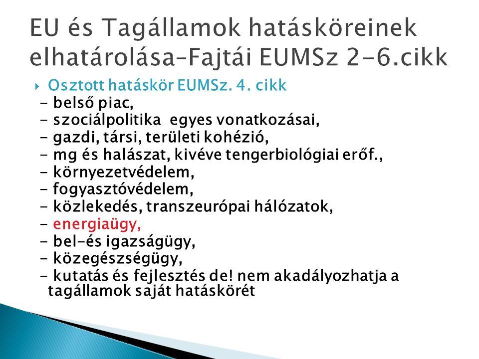  Osztott hatáskör EUMSz. 4.