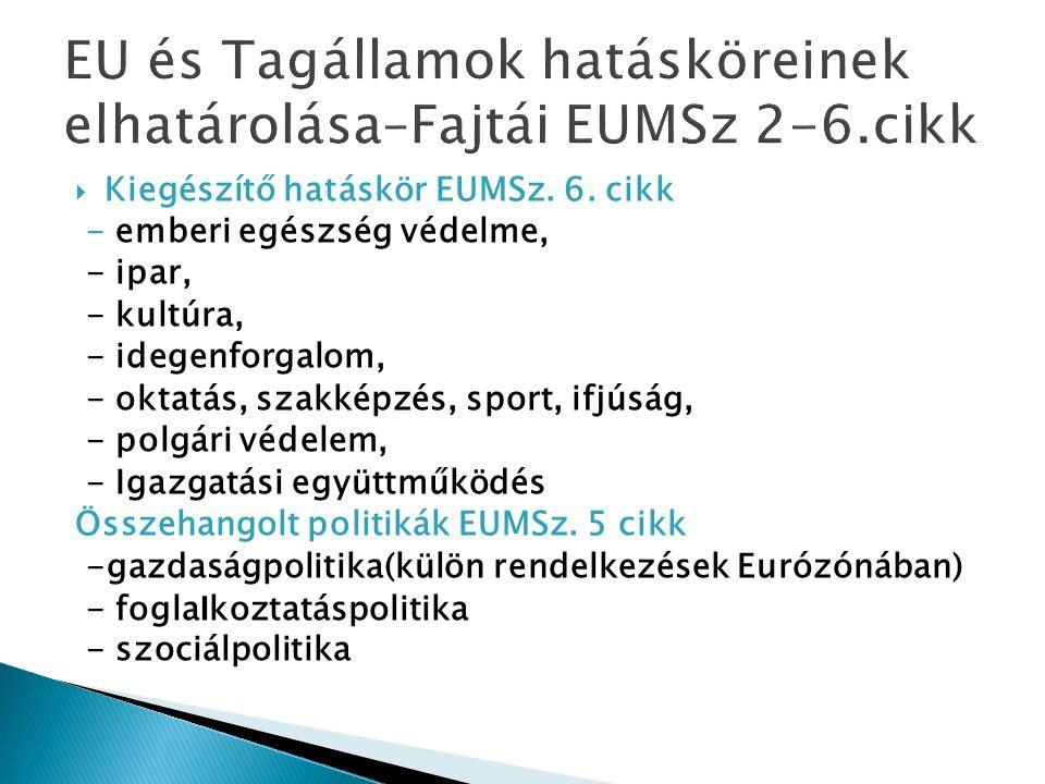  Kiegészítő hatáskör EUMSz. 6.