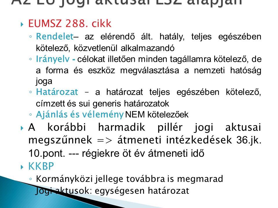  EUMSZ 288. cikk ◦ Rendelet – az elérendő ált.