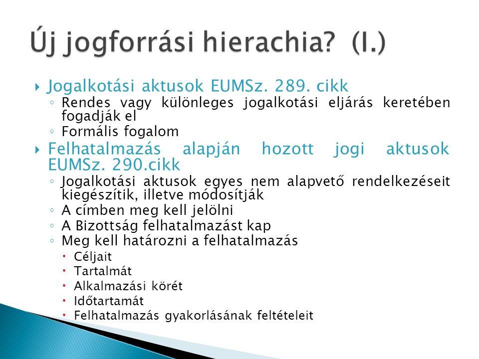  Jogalkotási aktusok EUMSz. 289.