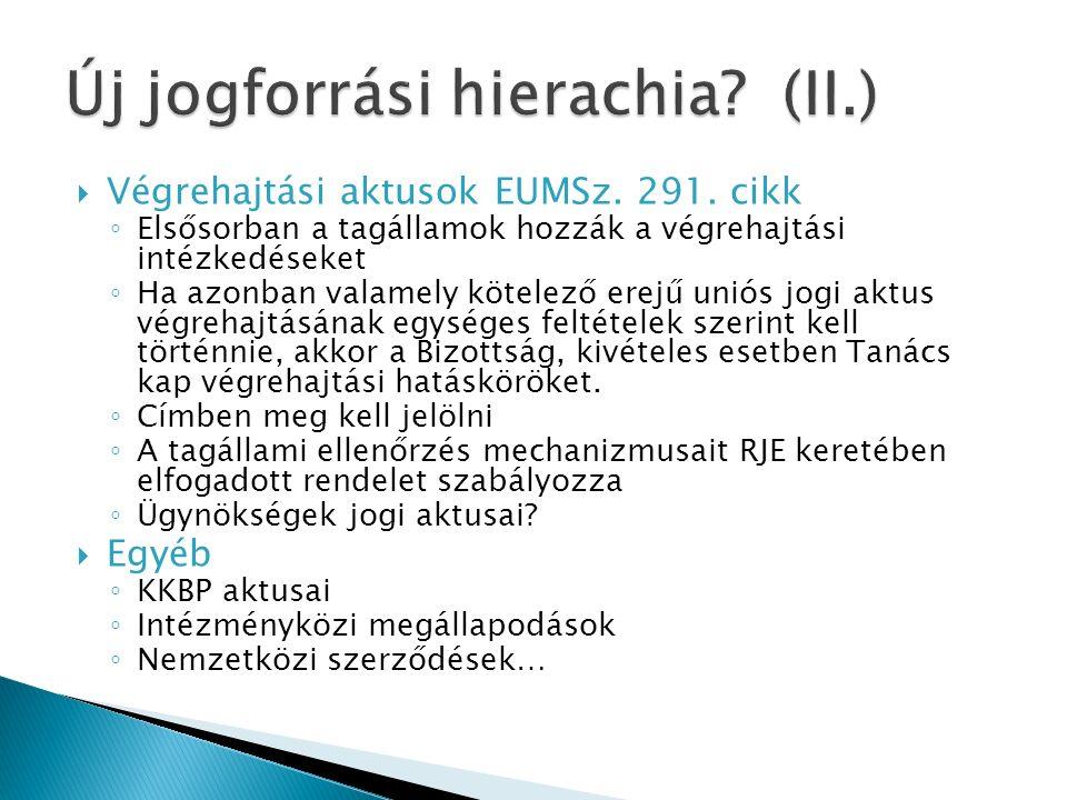  Végrehajtási aktusok EUMSz. 291.