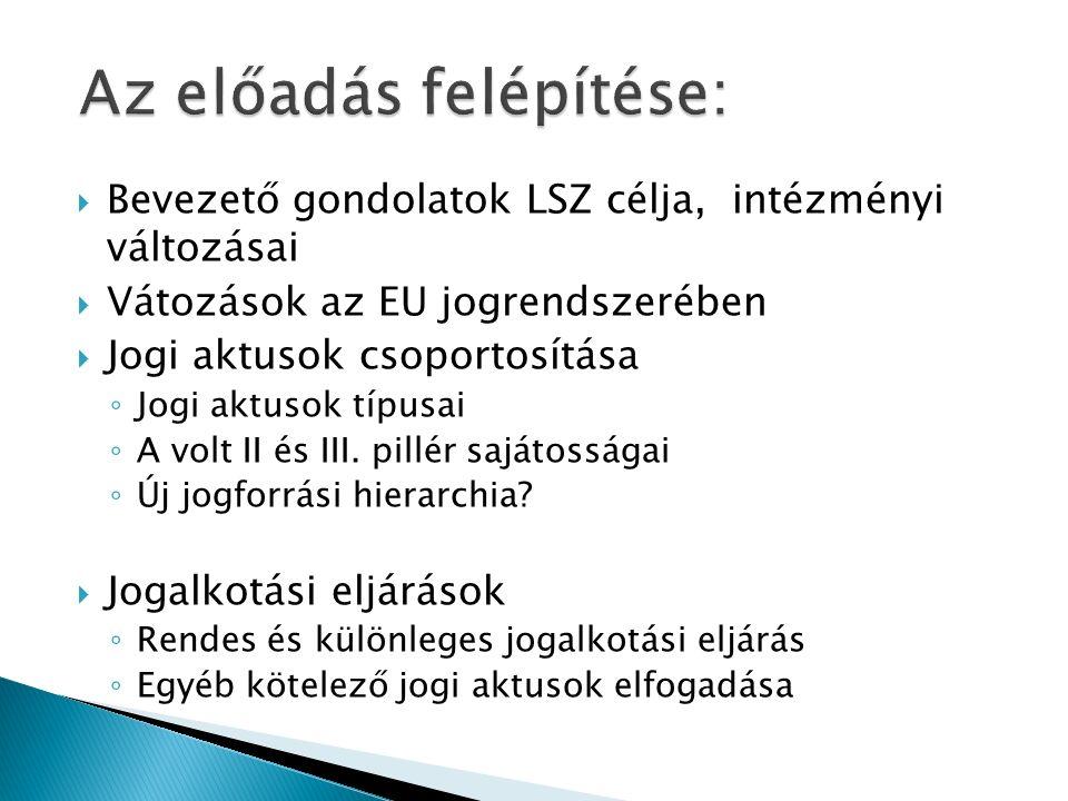  Bevezető gondolatok LSZ célja, intézményi változásai  Vátozások az EU jogrendszerében  Jogi aktusok csoportosítása ◦ Jogi aktusok típusai ◦ A volt II és III.