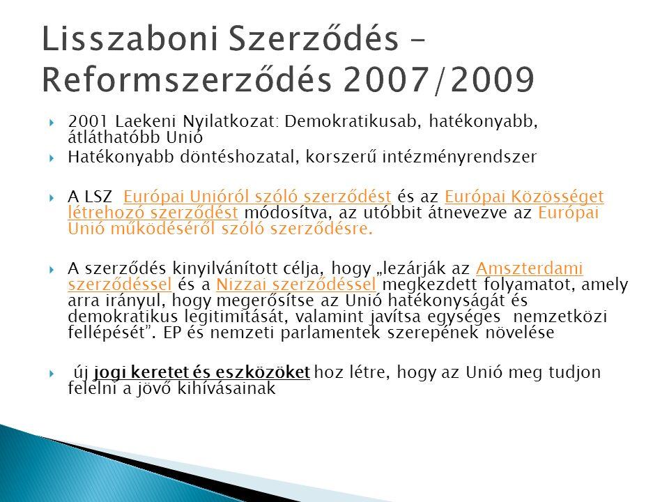 """ 2001 Laekeni Nyilatkozat: Demokratikusab, hatékonyabb, átláthatóbb Unió  Hatékonyabb döntéshozatal, korszerű intézményrendszer  A LSZ Európai Unióról szóló szerződést és az Európai Közösséget létrehozó szerződést módosítva, az utóbbit átnevezve az Európai Unió működéséről szóló szerződésre.Európai Unióról szóló szerződéstEurópai Közösséget létrehozó szerződést  A szerződés kinyilvánított célja, hogy """"lezárják az Amszterdami szerződéssel és a Nizzai szerződéssel megkezdett folyamatot, amely arra irányul, hogy megerősítse az Unió hatékonyságát és demokratikus legitimitását, valamint javítsa egységes nemzetközi fellépését ."""