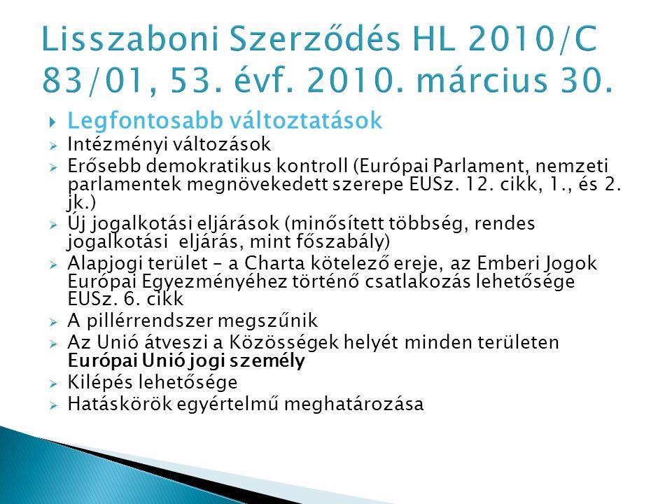  Legfontosabb változtatások  Intézményi változások  Erősebb demokratikus kontroll (Európai Parlament, nemzeti parlamentek megnövekedett szerepe EUSz.