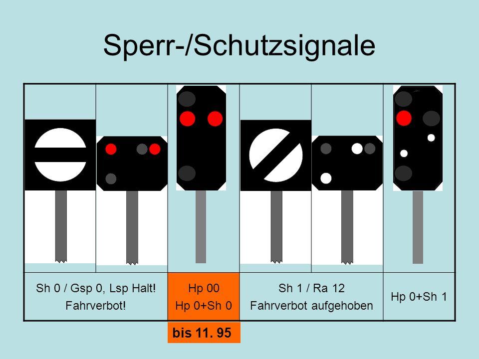 Sperr-/Schutzsignale Sh 0 / Gsp 0, Lsp Halt! Fahrverbot! Hp 00 Hp 0+Sh 0 Sh 1 / Ra 12 Fahrverbot aufgehoben Hp 0+Sh 1 bis 11. 95