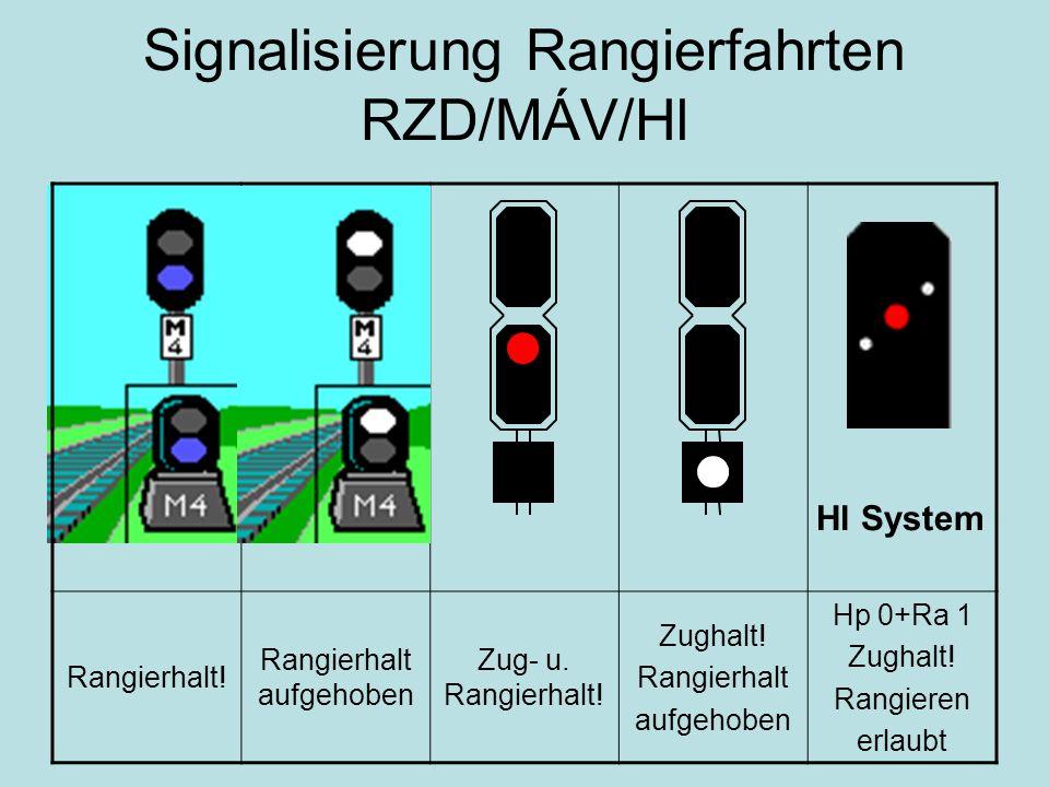 Signalisierung Rangierfahrten RZD/MÁV/Hl Rangierhalt! Rangierhalt aufgehoben Zug- u. Rangierhalt! Zughalt! Rangierhalt aufgehoben Hp 0+Ra 1 Zughalt! R