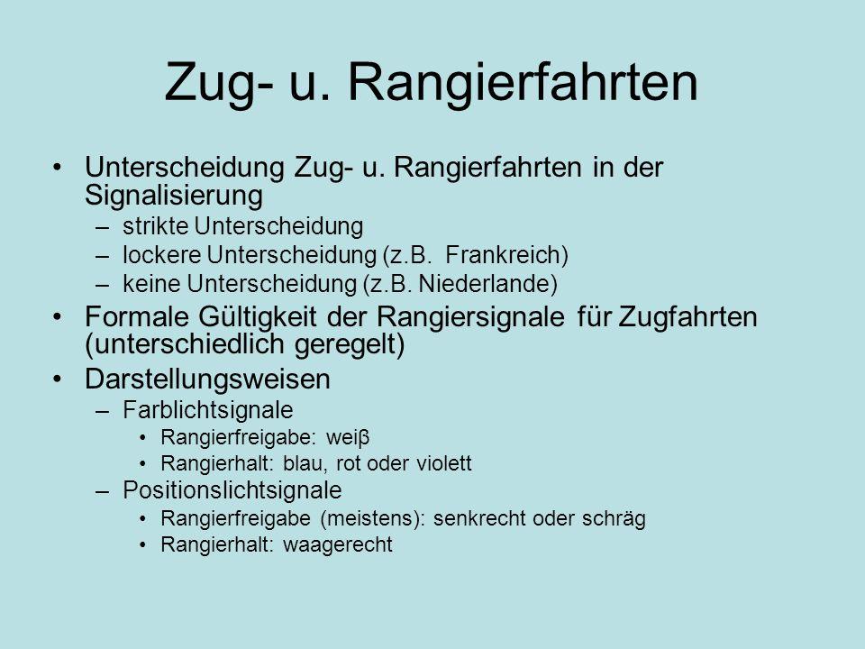 Zug- u. Rangierfahrten Unterscheidung Zug- u. Rangierfahrten in der Signalisierung –strikte Unterscheidung –lockere Unterscheidung (z.B. Frankreich) –