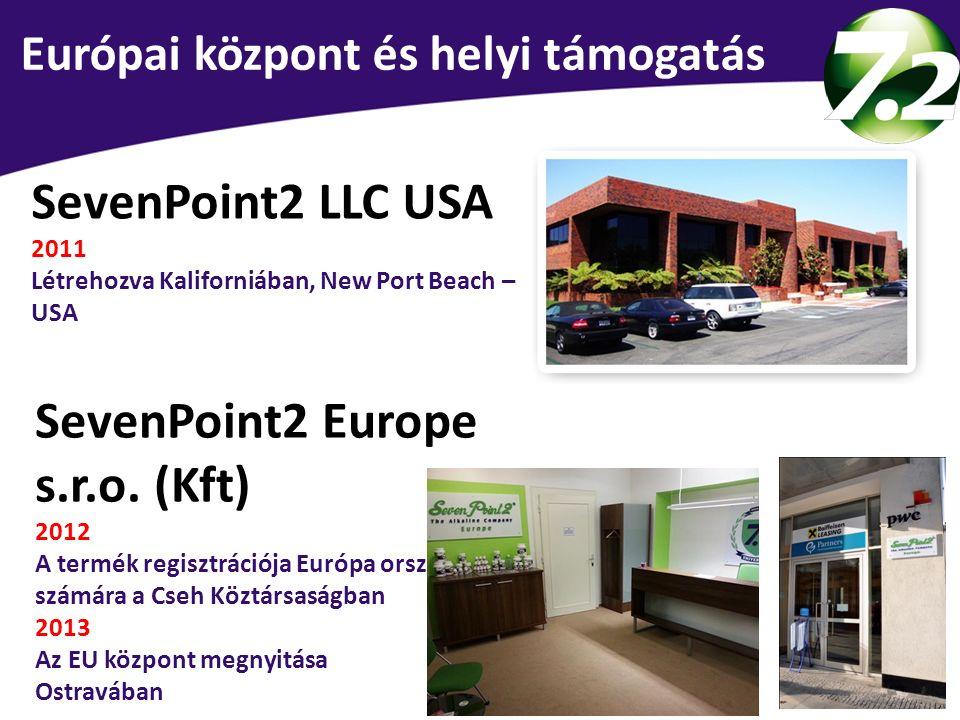 SevenPoint2 LLC USA 2011 Létrehozva Kaliforniában, New Port Beach – USA SevenPoint2 Europe s.r.o. (Kft) 2012 A termék regisztrációja Európa országai s