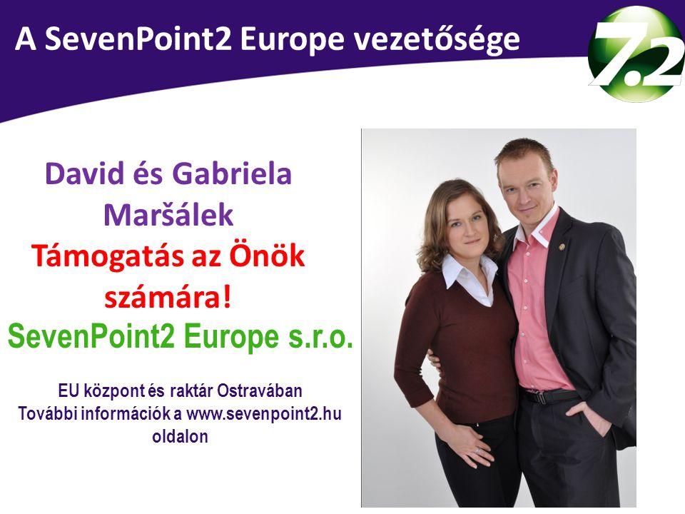 Vedení SevenPoint2 Europe David és Gabriela Maršálek Támogatás az Önök számára! SevenPoint2 Europe s.r.o. EU központ és raktár Ostravában További info