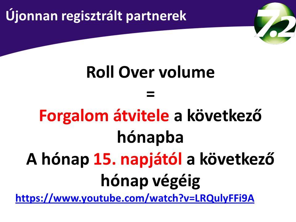 Roll Over volume = Forgalom átvitele a következő hónapba A hónap 15. napjától a következő hónap végéig https://www.youtube.com/watch?v=LRQulyFFi9A 3 s