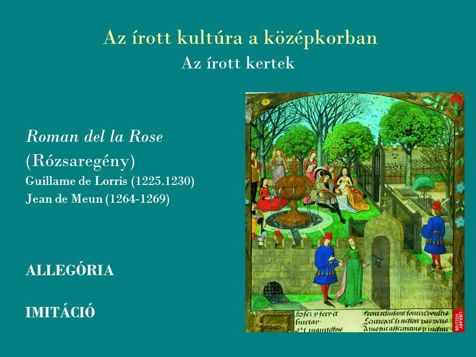 Az írott kultúra a középkorban Az írott kertek Roman del la Rose (Rózsaregény) Guillame de Lorris (1225.1230) Jean de Meun (1264-1269) ALLEGÓRIA IMITÁCIÓ