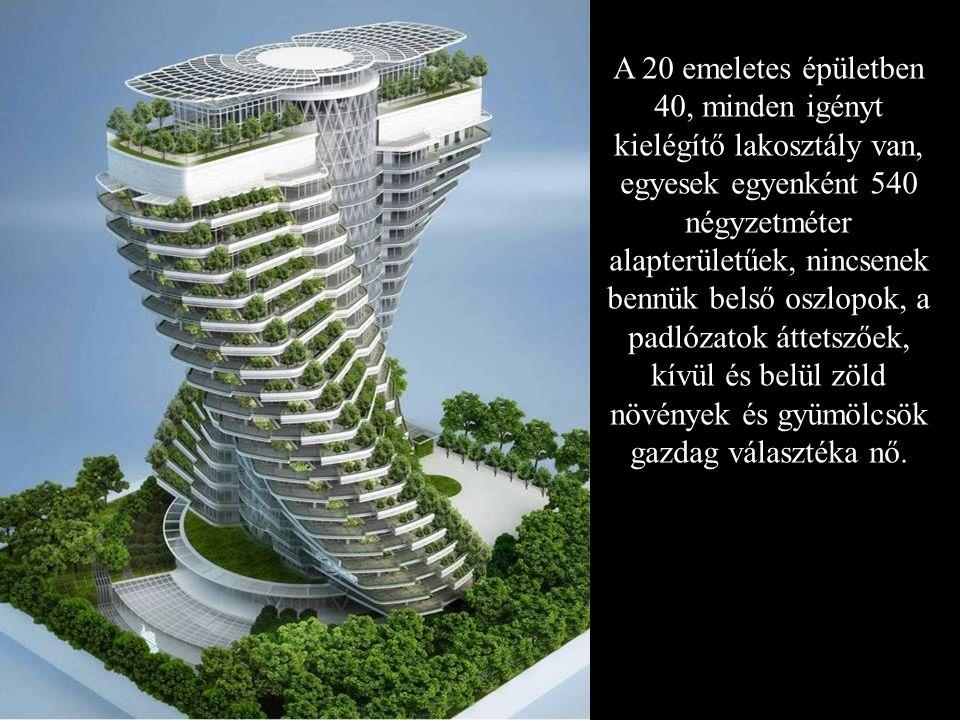 A 20 emeletes épületben 40, minden igényt kielégítő lakosztály van, egyesek egyenként 540 négyzetméter alapterületűek, nincsenek bennük belső oszlopok, a padlózatok áttetszőek, kívül és belül zöld növények és gyümölcsök gazdag választéka nő.