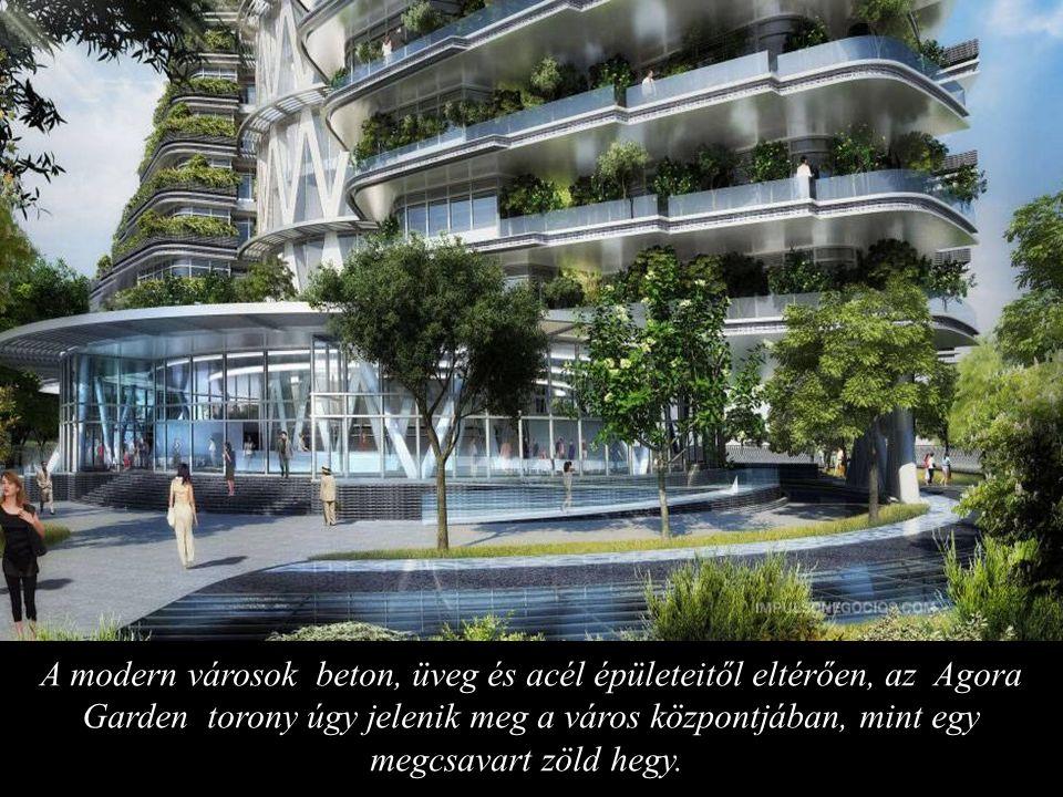 A modern városok beton, üveg és acél épületeitől eltérően, az Agora Garden torony úgy jelenik meg a város központjában, mint egy megcsavart zöld hegy.