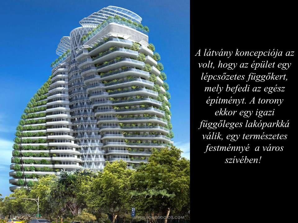 A látvány koncepciója az volt, hogy az épület egy lépcsőzetes függőkert, mely befedi az egész építményt.