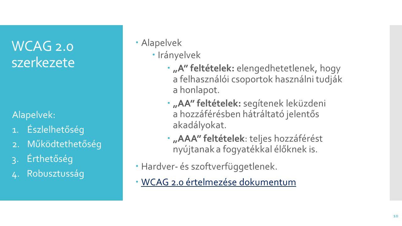"""WCAG 2.0 szerkezete  Alapelvek  Irányelvek  """"A"""" feltételek: elengedhetetlenek, hogy a felhasználói csoportok használni tudják a honlapot.  """"AA"""" fe"""