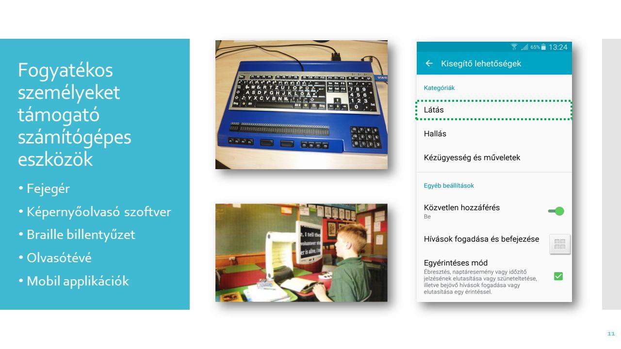 Fogyatékos személyeket támogató számítógépes eszközök Fejegér Képernyőolvasó szoftver Braille billentyűzet Olvasótévé Mobil applikációk 11