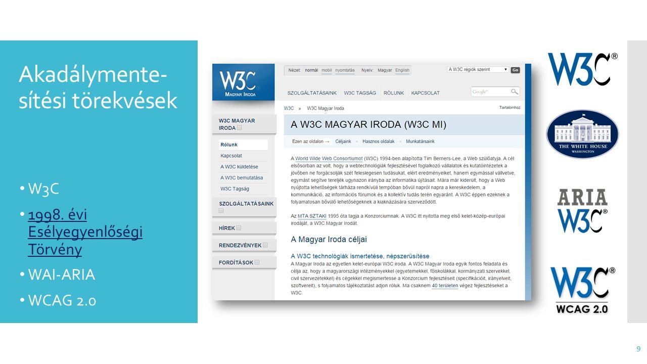 Akadálymente- sítési törekvések 9 W3C 1998. évi Esélyegyenlőségi Törvény 1998. évi Esélyegyenlőségi Törvény WAI-ARIA WCAG 2.0