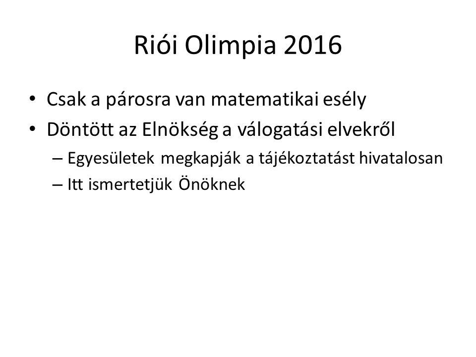 Riói Olimpia 2016 Csak a párosra van matematikai esély Döntött az Elnökség a válogatási elvekről – Egyesületek megkapják a tájékoztatást hivatalosan – Itt ismertetjük Önöknek