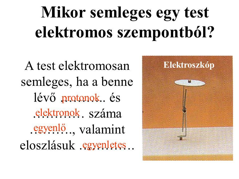 Mikor semleges egy test elektromos szempontból? A test elektromosan semleges, ha a benne lévő ……….. és ………… száma ………., valamint eloszlásuk …………. prot