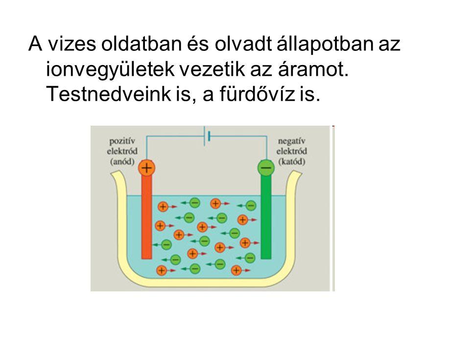 A vizes oldatban és olvadt állapotban az ionvegyületek vezetik az áramot. Testnedveink is, a fürdővíz is.