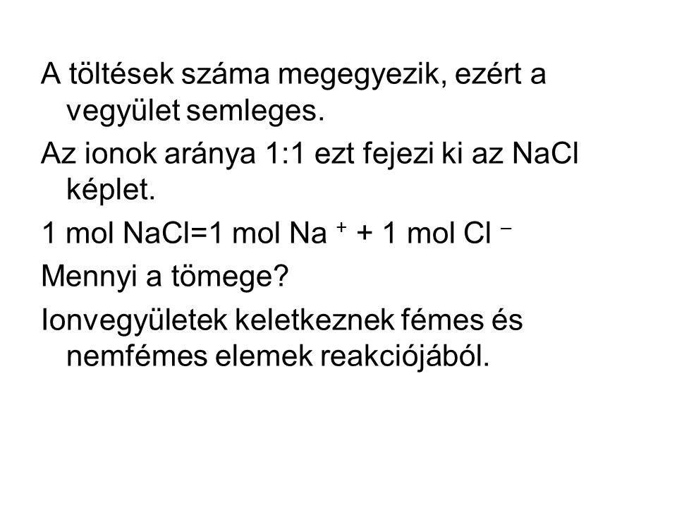 A töltések száma megegyezik, ezért a vegyület semleges. Az ionok aránya 1:1 ezt fejezi ki az NaCl képlet. 1 mol NaCl=1 mol Na + + 1 mol Cl – Mennyi a