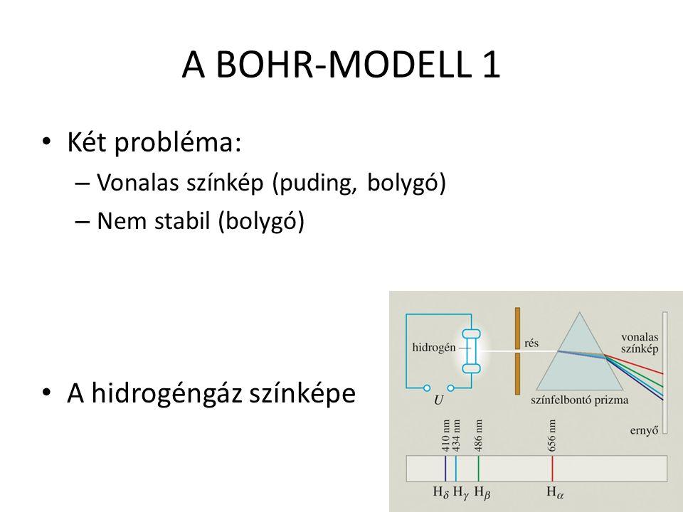 A BOHR-MODELL 1 Két probléma: – Vonalas színkép (puding, bolygó) – Nem stabil (bolygó) A hidrogéngáz színképe