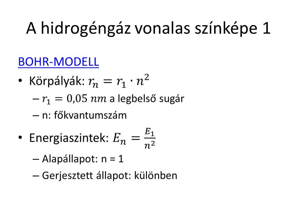 A hidrogéngáz vonalas színképe 2 Kiváló egyezés