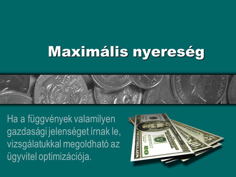 Maximális nyereség Ha a függvények valamilyen gazdasági jelenséget írnak le, vizsgálatukkal megoldható az ügyvitel optimizációja.