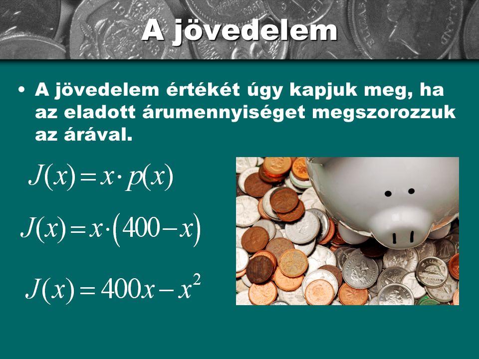 A jövedelem A jövedelem értékét úgy kapjuk meg, ha az eladott árumennyiséget megszorozzuk az árával.