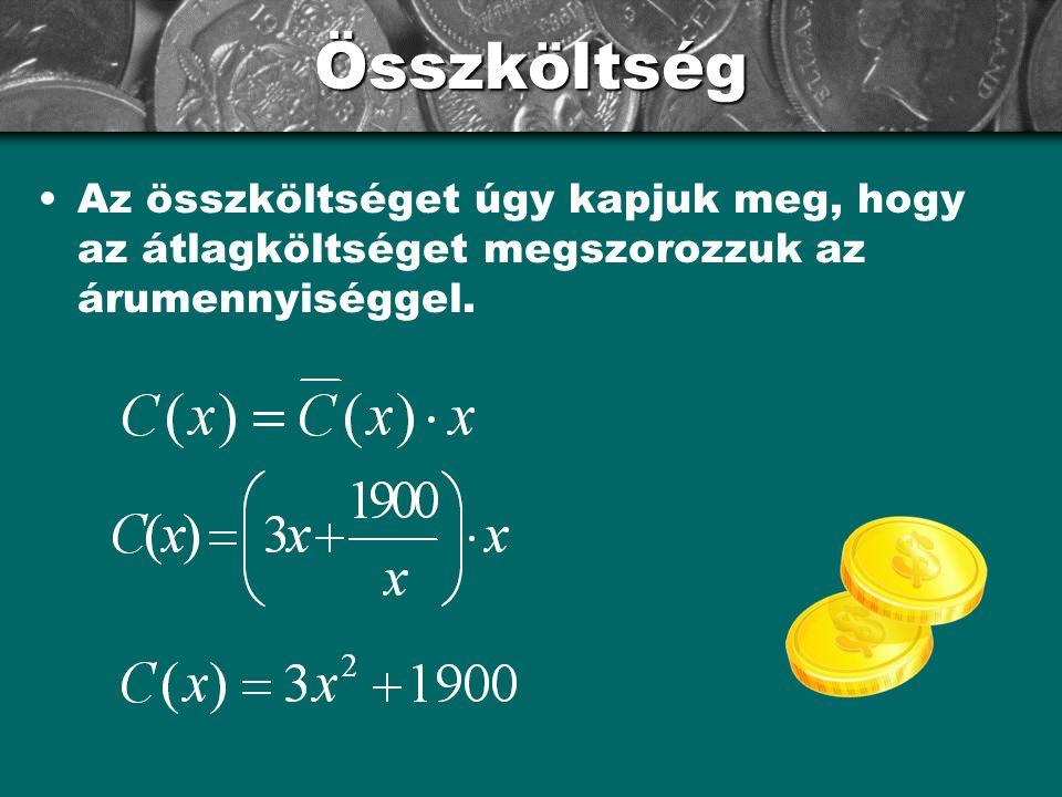 Összköltség Az összköltséget úgy kapjuk meg, hogy az átlagköltséget megszorozzuk az árumennyiséggel.