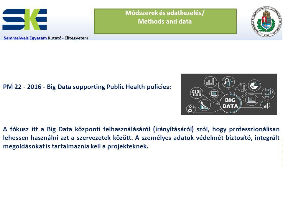 1-1 fő Semmelweis EgyetemSemmelweis Egyetem Kutató - Elitegyetem Innovációs Igazgatóság Módszerek és adatkezelés/ Methods and data In-silico klinikai vizsgálatok Adatvédelem Szimulációs rendszerek fejlesztése PM 22 - 2016 - Big Data supporting Public Health policies: A fókusz itt a Big Data központi felhasználásáról (irányításáról) szól, hogy professzionálisan lehessen használni azt a szervezetek között.
