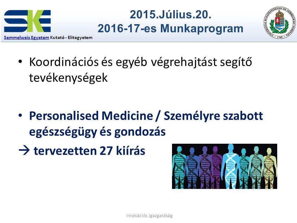 Semmelweis EgyetemSemmelweis Egyetem Kutató - Elitegyetem 2015.Július.20. 2016-17-es Munkaprogram Innovációs Igazgatóság Koordinációs és egyéb végreha