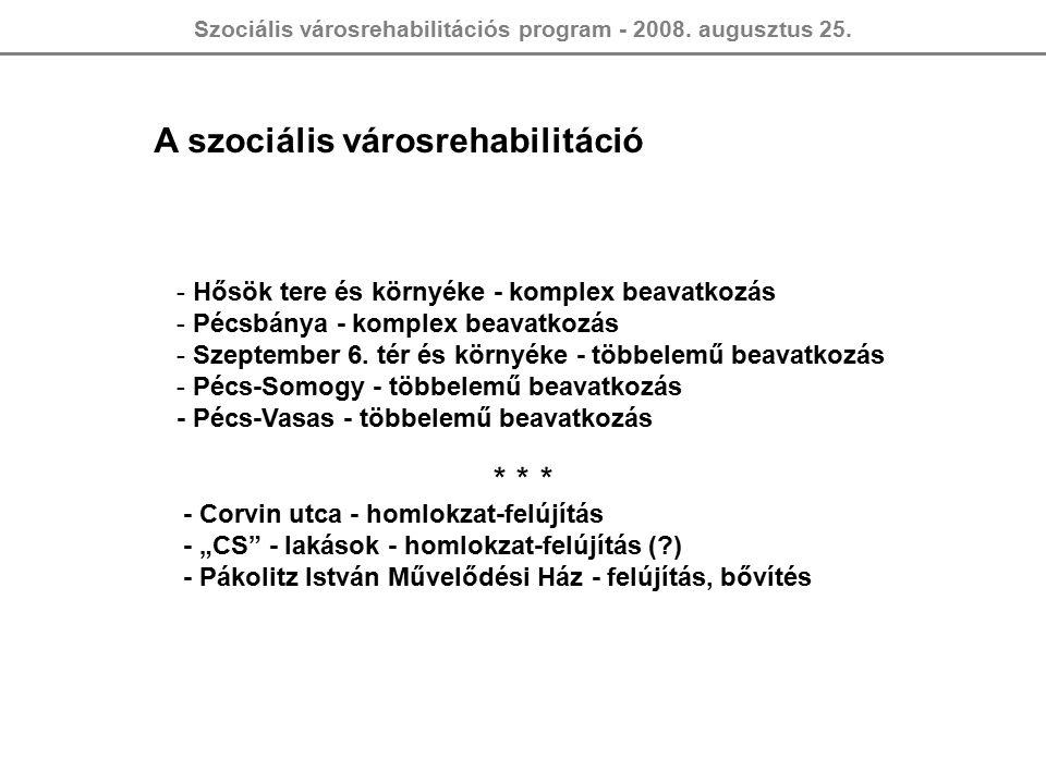 Szociális városrehabilitációs program - 2008. augusztus 25. A szociális városrehabilitáció - Hősök tere és környéke - komplex beavatkozás - Pécsbánya