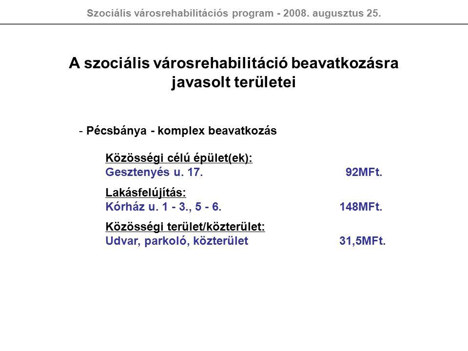 Szociális városrehabilitációs program - 2008. augusztus 25.
