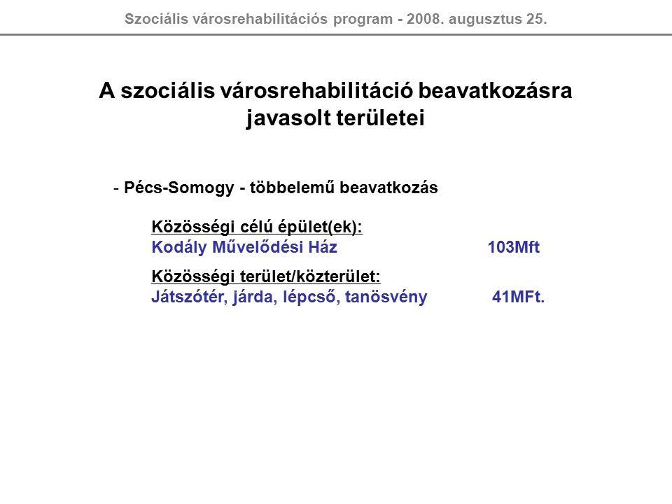 Szociális városrehabilitációs program - 2008. augusztus 25. A szociális városrehabilitáció beavatkozásra javasolt területei - Pécs-Somogy - többelemű