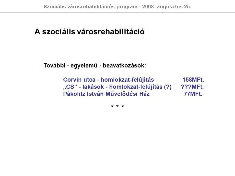 Szociális városrehabilitációs program - 2008. augusztus 25. A szociális városrehabilitáció - További - egyelemű - beavatkozások: Corvin utca - homlokz