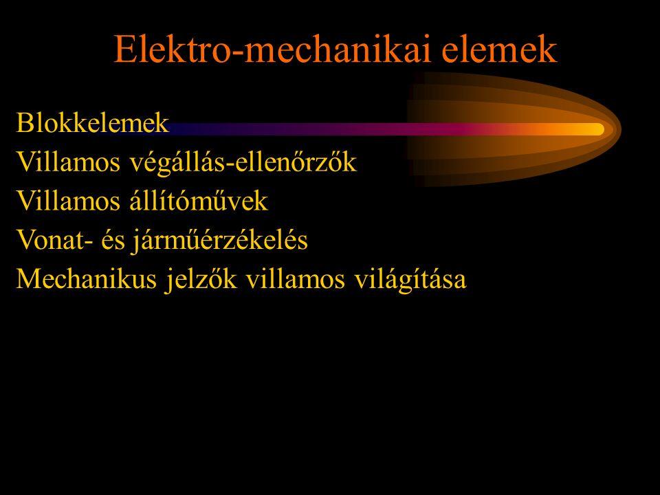 Elektro-mechanikai elemek Rétlaki Győző: Karbantartás Blokkelemek Villamos végállás-ellenőrzők Vonat- és járműérzékelés Villamos állítóművek Mechaniku