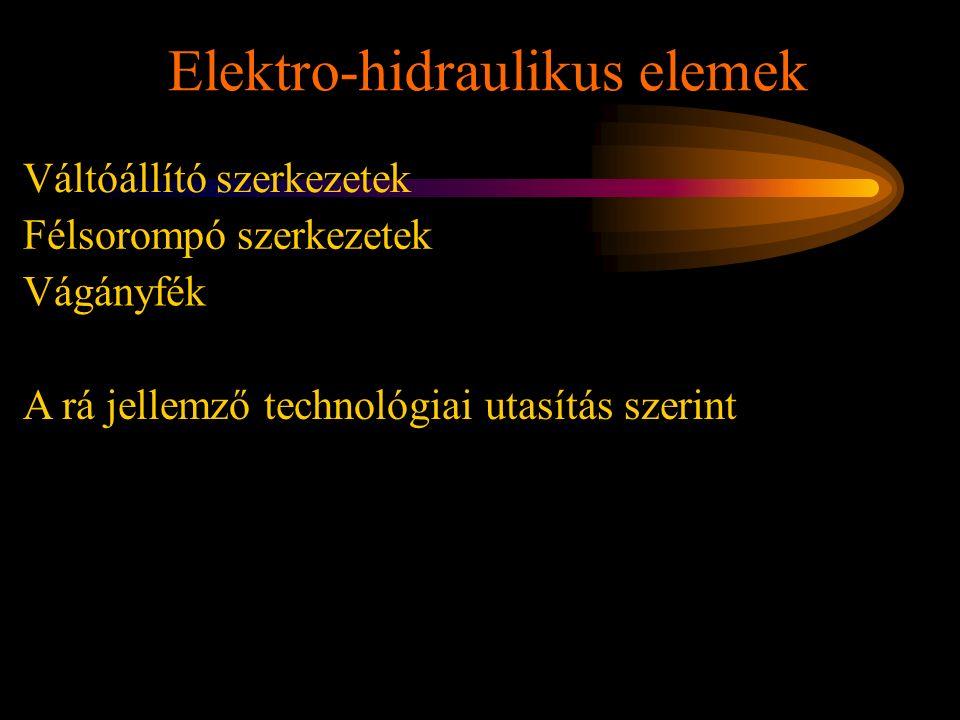 Elektro-hidraulikus elemek Rétlaki Győző: Karbantartás Váltóállító szerkezetek Félsorompó szerkezetek Vágányfék A rá jellemző technológiai utasítás sz
