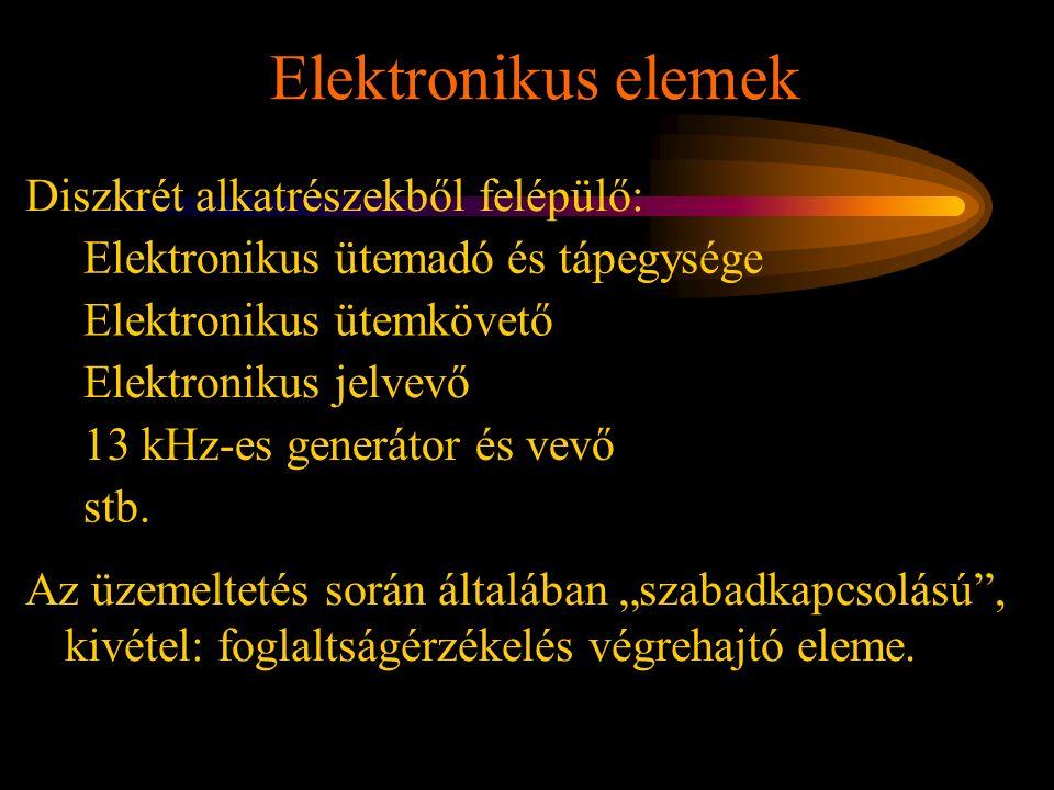 Elektronikus elemek Rétlaki Győző: Karbantartás Diszkrét alkatrészekből felépülő: Elektronikus ütemadó és tápegysége Elektronikus ütemkövető 13 kHz-es