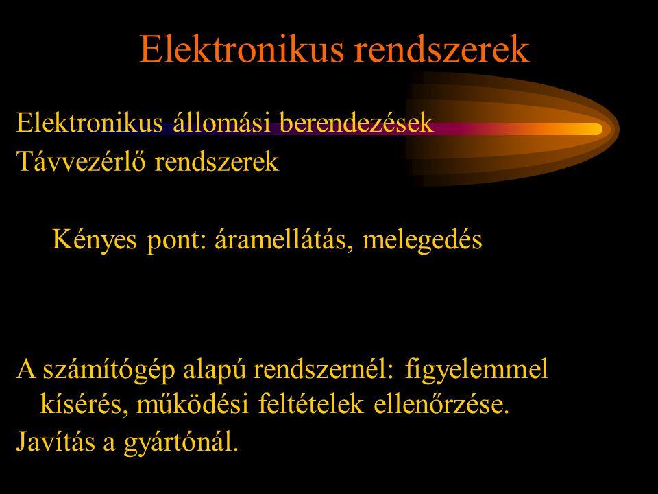 Elektronikus rendszerek Rétlaki Győző: Karbantartás Elektronikus állomási berendezések Távvezérlő rendszerek Kényes pont: áramellátás, melegedés A szá