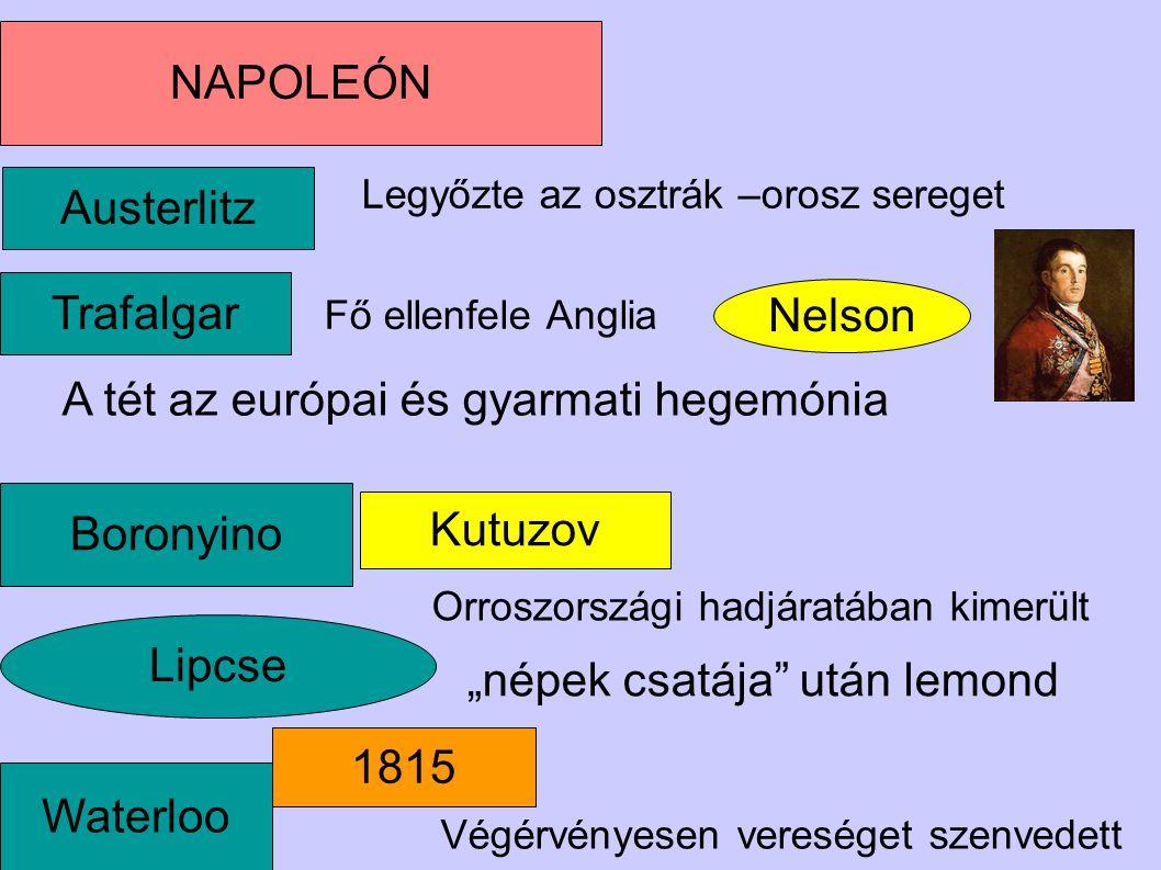 Lipcse Nelson NAPOLEÓN Waterloo Boronyino Kutuzov Trafalgar Austerlitz Legyőzte az osztrák –orosz sereget A tét az európai és gyarmati hegemónia Orros