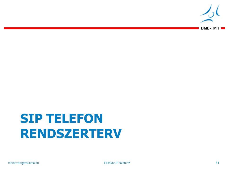 BME-TMIT SIP TELEFON RENDSZERTERV Építsünk IP telefont!11moldovan@tmit.bme.hu