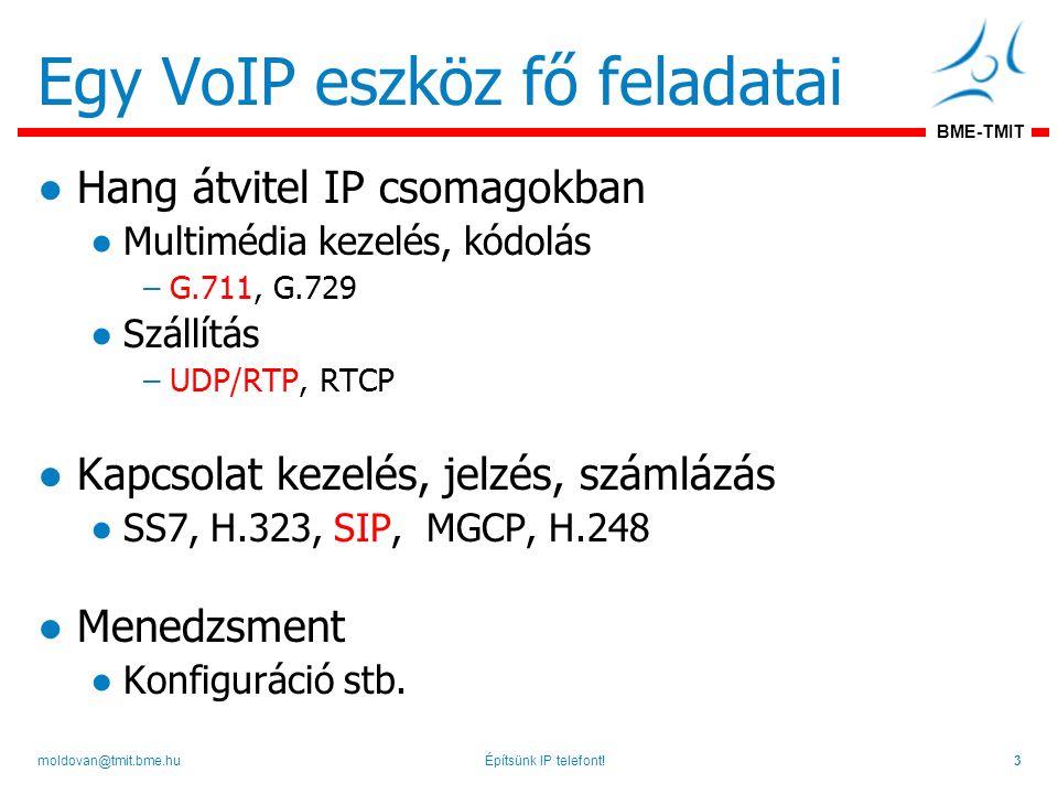 BME-TMIT Egy VoIP eszköz fő feladatai ●Hang átvitel IP csomagokban ●Multimédia kezelés, kódolás –G.711, G.729 ●Szállítás –UDP/RTP, RTCP ●Kapcsolat kezelés, jelzés, számlázás ●SS7, H.323, SIP, MGCP, H.248 ●Menedzsment ●Konfiguráció stb.