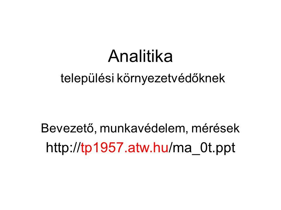 Analitika települési környezetvédőknek Bevezető, munkavédelem, mérések http://tp1957.atw.hu/ma_0t.ppt