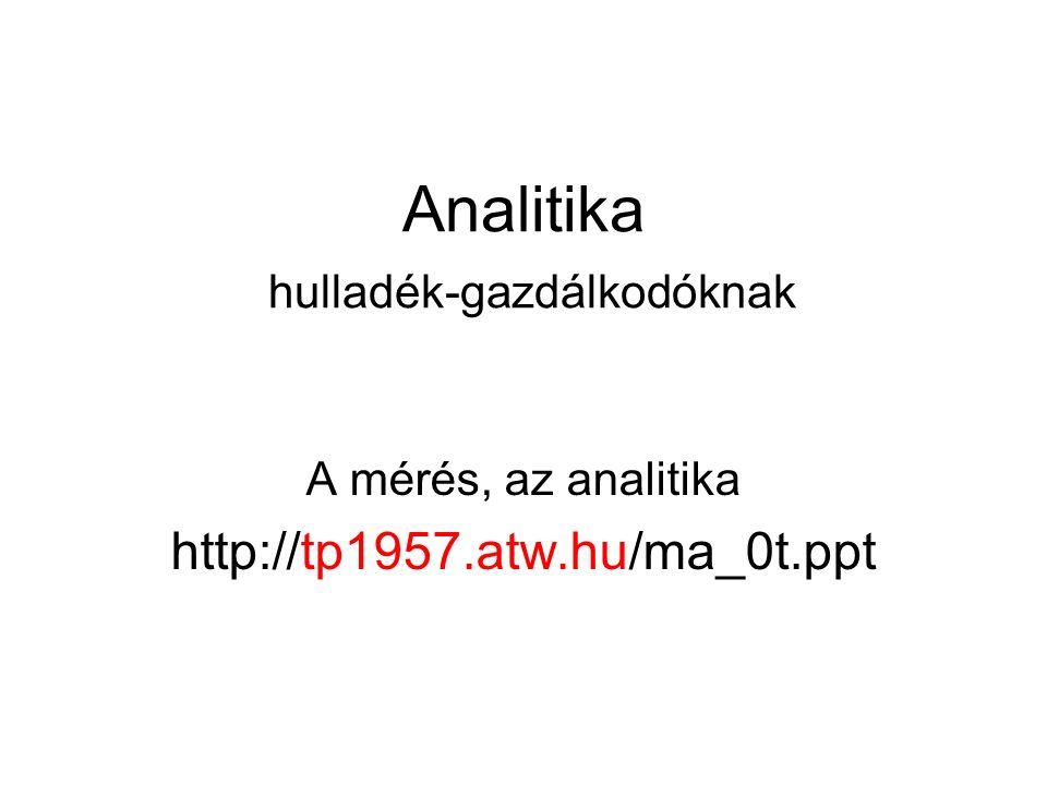 Analitika hulladék-gazdálkodóknak A mérés, az analitika http://tp1957.atw.hu/ma_0t.ppt