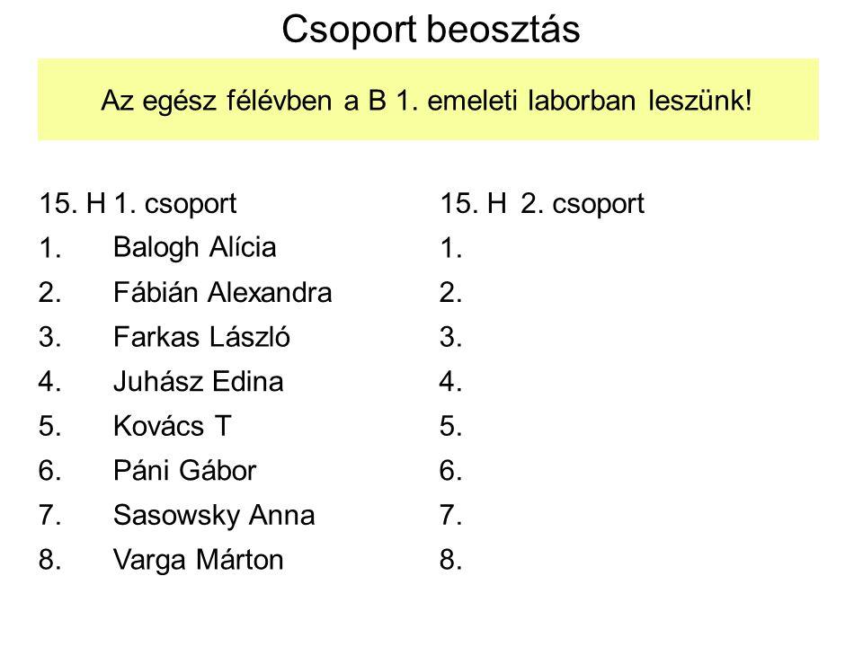 Csoport beosztás 15. H1. csoport 1.