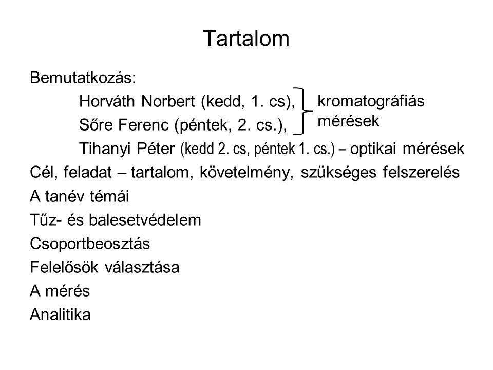 Tartalom Bemutatkozás: Horváth Norbert (kedd, 1. cs), Sőre Ferenc (péntek, 2.